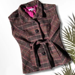 CAbi Wool Tweed Plaid Tie Brown Short Sleeve Vest
